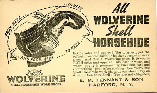 Amerikansk postkortreklame for  hesteskinnssko