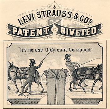 "Tidlig reklame for Levi's ""riveted"" jeans"