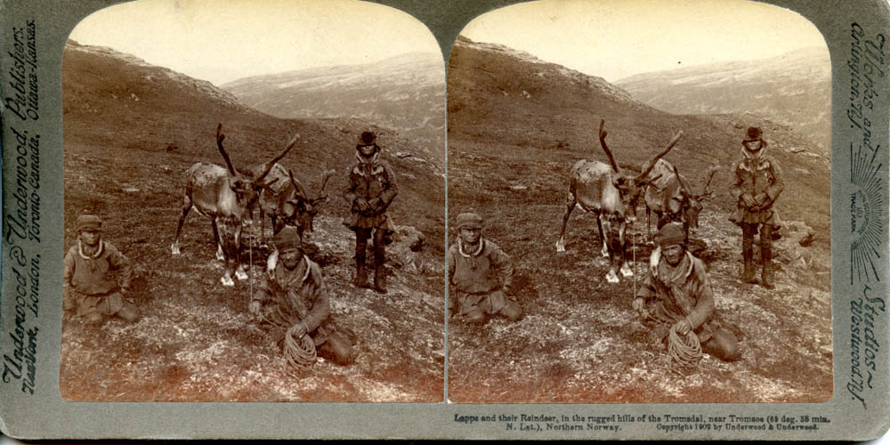 """Lapps and their Reindeer, in the rugged Hills of Tromsdal, near Tromsø. 1902"